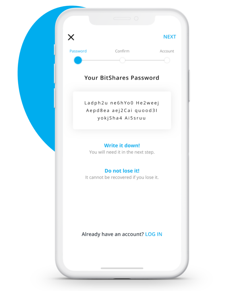 Passwort Vergabe innerhalb der BitShares App