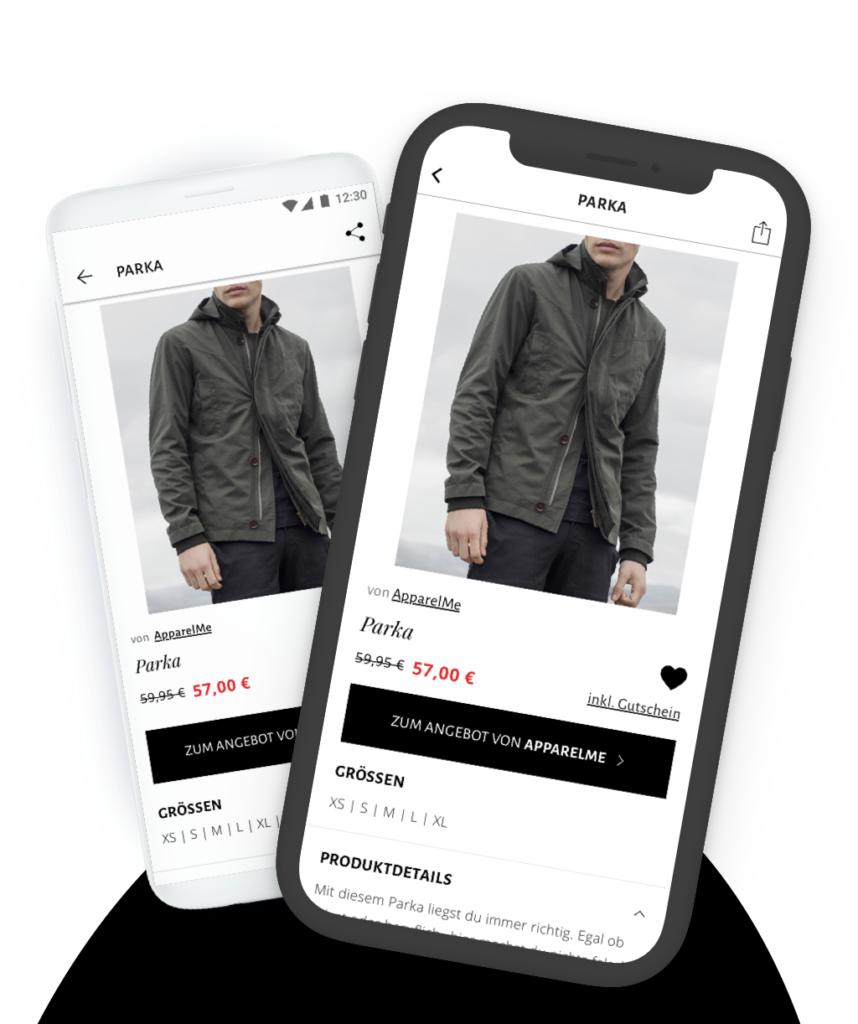 Mybestbrand iOS und Android App Darstellung der Produktdetailseite