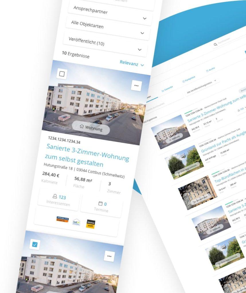 Responsive Ansichten der Wohnungshelden WebApp für Smartphone und Desktop