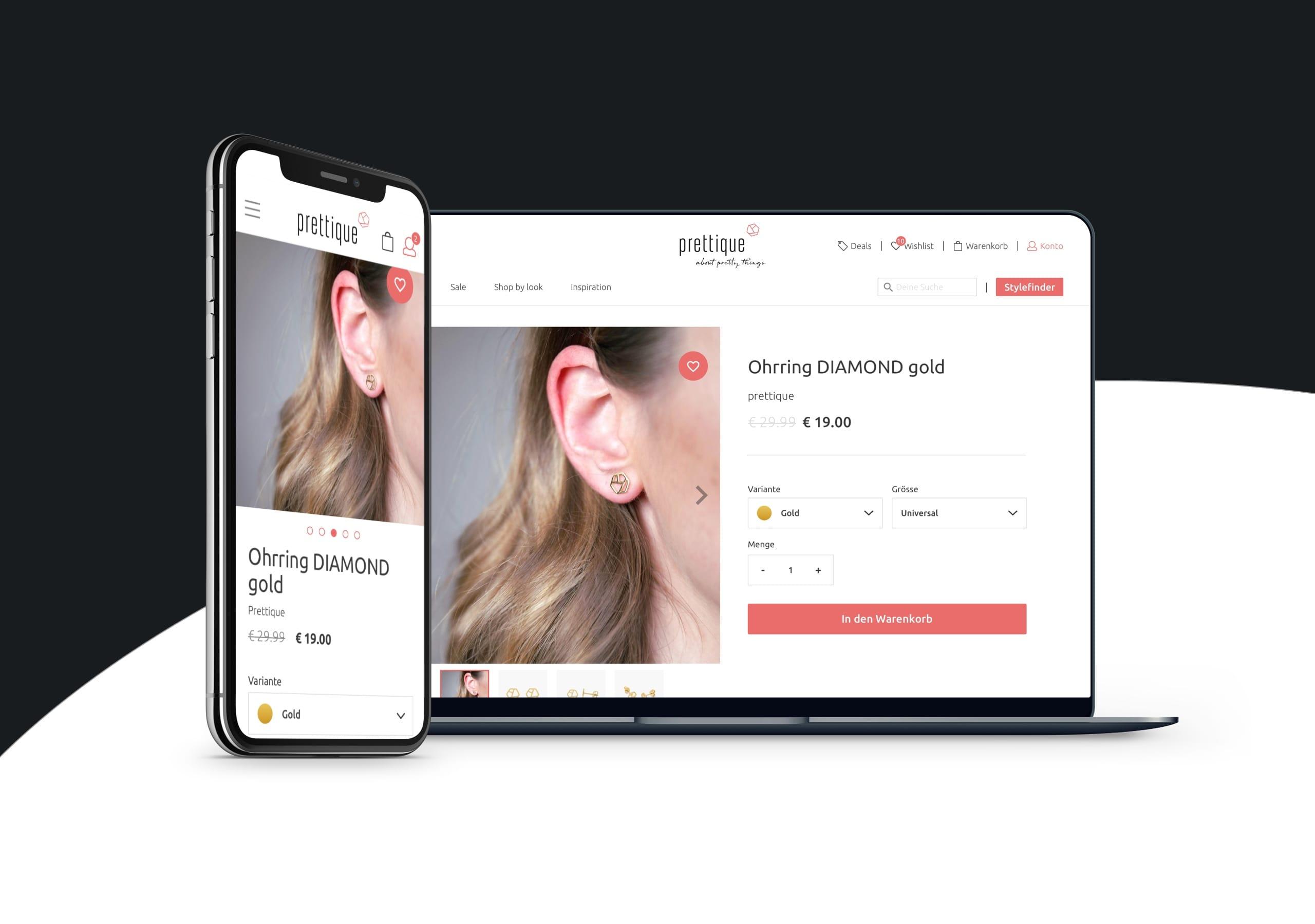 Prettique Website auf Smartphone und Desktop