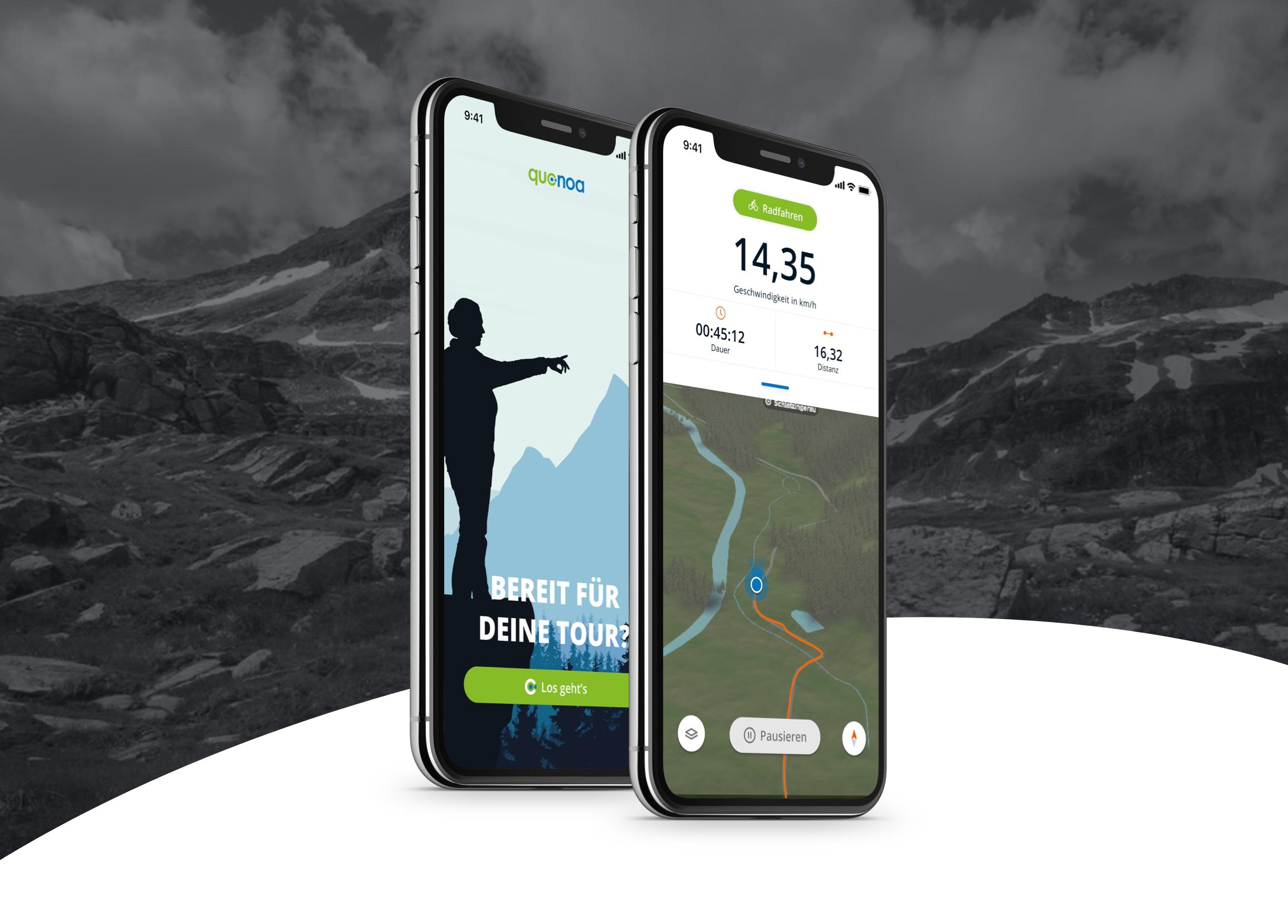 Quonoa App in zwei Ansichten auf Smartphone